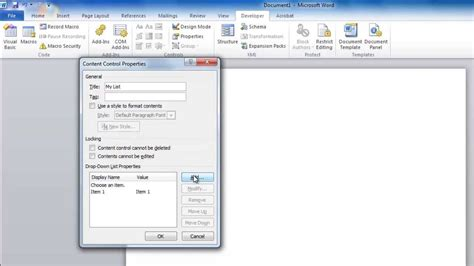 How to Create a Drop Down List in Word - YouTube