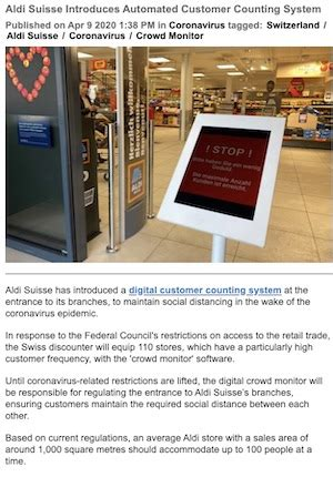 Aldi Suisse Introduces Automated Customer Counting System