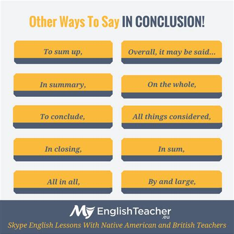 What are the other ways to say IN CONCLUSION