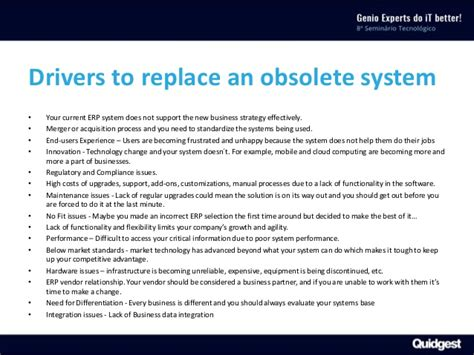 Replacing obsolete ERP software systems with Genio