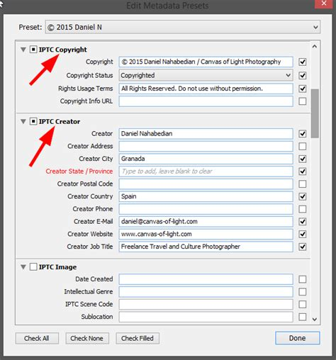 How to: Create a Copyright Metadata Preset in Lightroom