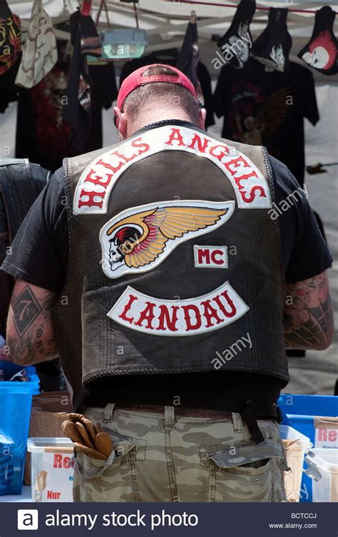 A member of the Hells Angels motorcycle club Stock Photo