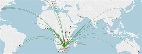 South African Airways route map - international routes