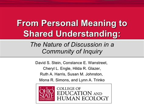 From Personal Meaning to Shared Understanding: The Nature