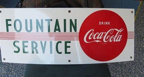 Drink Coca Cola Fountain Service Red Dot | Porcelain Signs